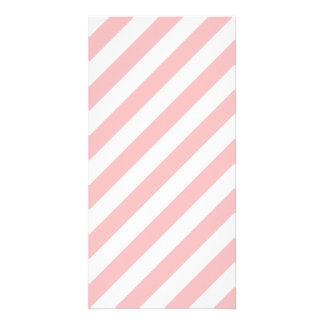 Pink and White Diagonal Stripes Pattern Photo Card Template