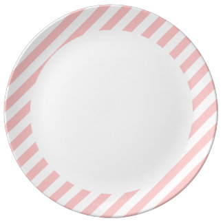 Pink and White Diagonal Stripes Pattern Plate