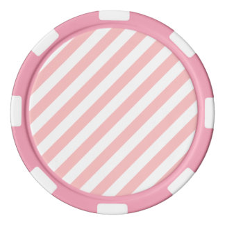 Pink and White Diagonal Stripes Pattern Poker Chips Set