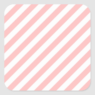 Pink and White Diagonal Stripes Pattern Square Sticker