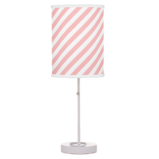 Pink and White Diagonal Stripes Pattern Table Lamp