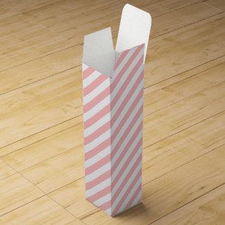 Pink and White Diagonal Stripes Pattern Wine Bottle Box