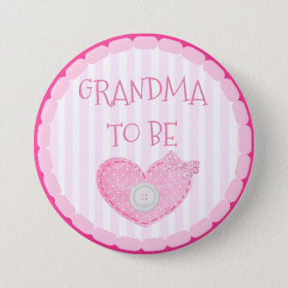 Pink and White Dots & button Grandma To Be Button