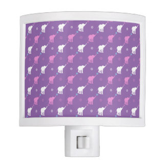 Pink and White Elephants Night Light
