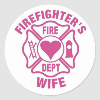 Pink and white firefighter's wife sticker