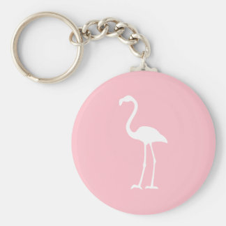 Pink and White Flamingo Basic Round Button Keychain