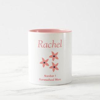 Pink and White Floral Homeschool Mom Two-Tone Coffee Mug