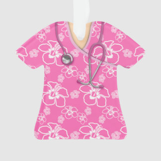 Pink And White Floral Medical Scrubs Ornament