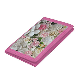 Pink and white floral pattern trifold wallet