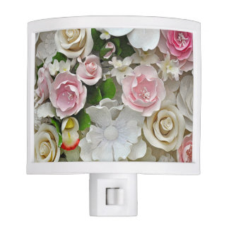 Pink and white floral print night lights