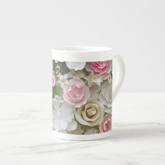 Pink and white floral print tea cup