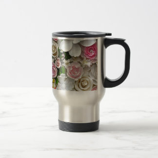 Pink and white floral print travel mug