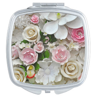 Pink and white floral print vanity mirrors
