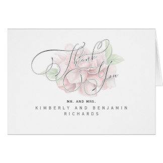 Pink and White Floral Typography Thank You Card