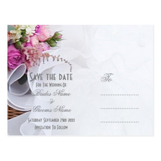 Pink and white floral wedding posy save the date postcard