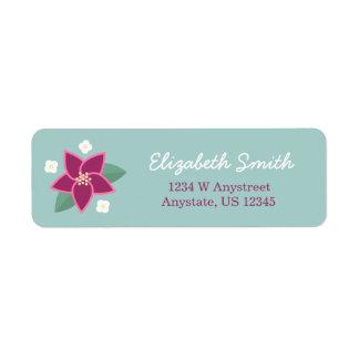 Pink and White Flower Handwritten Address Label