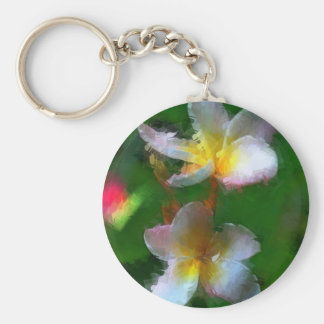 Pink And White Flower Multiple Products Basic Round Button Keychain
