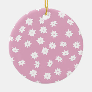 Pink and White Flowers Ceramic Ornament