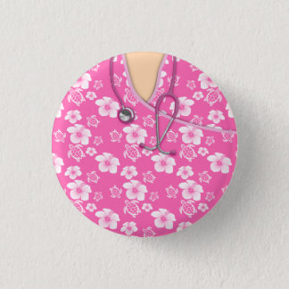 Pink And White Flowers Turtles Medical Scrubs 1 Inch Round Button