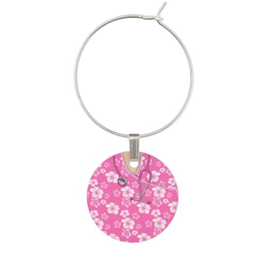 Pink And White Flowers Turtles Medical Scrubs Wine Charm