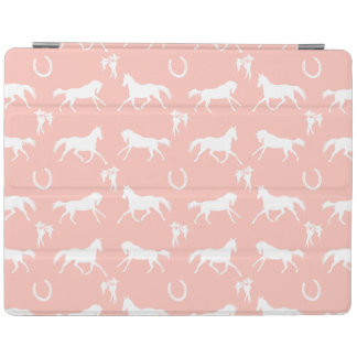Pink and White Galloping Horses Pattern iPad Cover