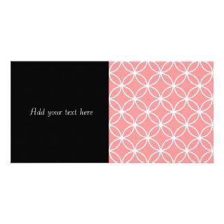Pink and White Geometric Design Overlapping Circle Custom Photo Card