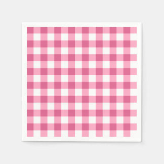 Pink And White Gingham Check Pattern Paper Napkins