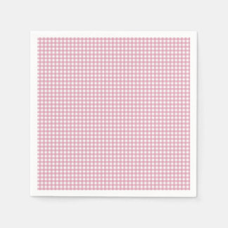 Pink and White Gingham Disposable Napkins