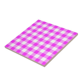 Pink and White Gingham Pattern Ceramic Tile
