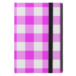 Pink and White Gingham Pattern Cover For iPad Mini