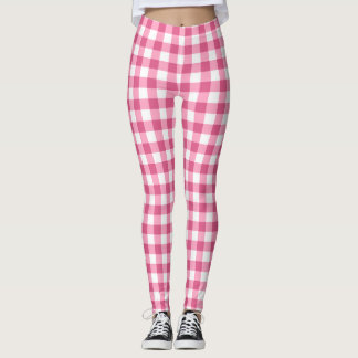 Pink And White Gingham Plaid Leggings
