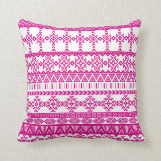 Pink and White Girly Aztec Pattern Throw Pillow