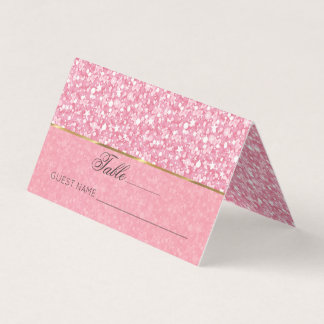 Pink And White Glitter Gold Stripe Place Card