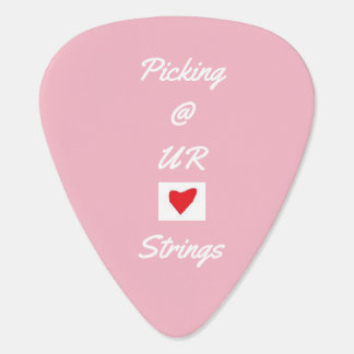 Pink and white guitar pick
