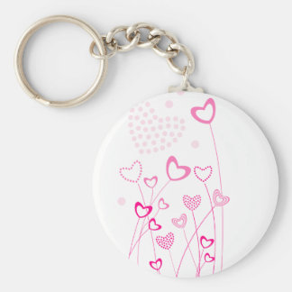 Pink and white Heart shaped flowers garden with a Keychain