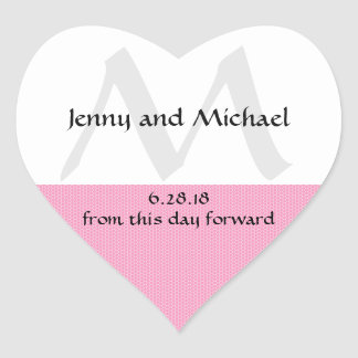 Pink and White Heart-Shaped Wedding Cake Box Seals Heart Sticker