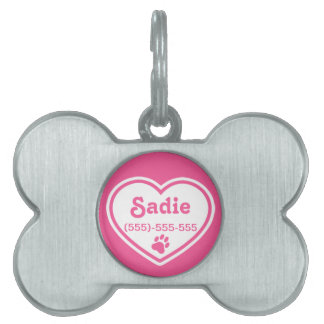 Pink And White Heart With A Paw Print Pet Tag