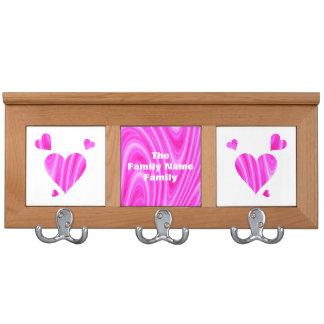 Pink and White Hearts Coatrack Coat Rack