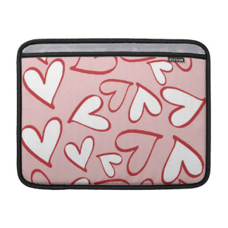 Pink and White Hearts Macbook Air Sleeve