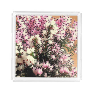 Pink and White Heather Acrylic Tray