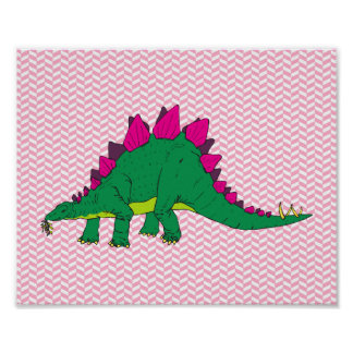 Pink and White Herringbone Stegosaurus Poster