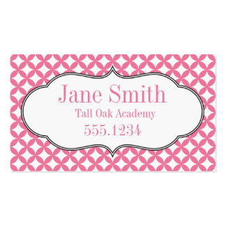Pink and White Homeschool Calling Card Business Card