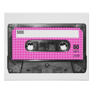 Pink and White Houndstooth Label Cassette Poster