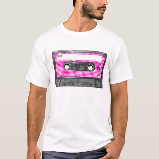 Pink and White Houndstooth Label Cassette T-Shirt