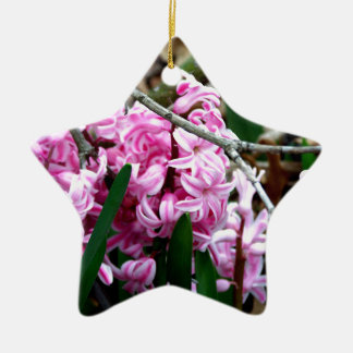 Pink and White Hyacinth Flowers Ceramic Star Ornament