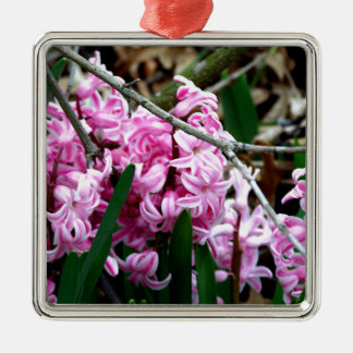 Pink and White Hyacinth Flowers Silver-Colored Square Ornament