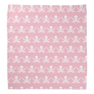 Pink and white Jolly roger pirate flag skull Bandana