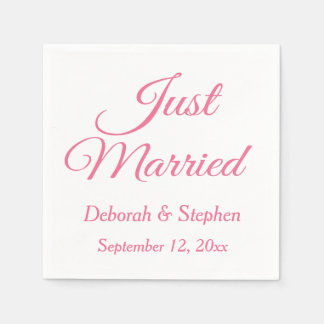 Pink And White Just Married Wedding Announcement Disposable Napkins