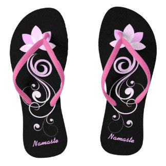 Pink and White Lotus Flower Flip Flops