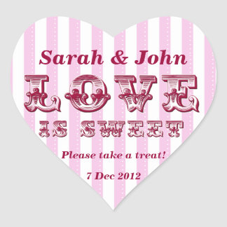 Pink and white Love is sweet Candy Buffet Sticker